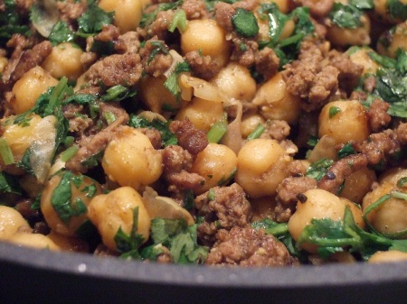 Spicy Sauteed Chickpeas, Beef & Cilantro – Chick in the Kitchen