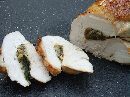 080914stuffedrolledturkey Rolled Turkey Breast Stuffed with Swiss Chard & Garlic